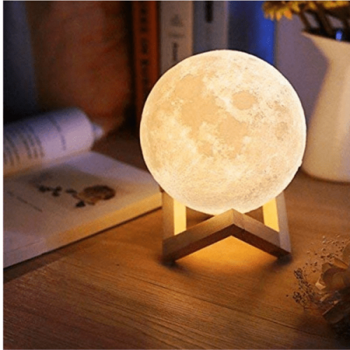 3 D Moon Lamp With Wood Base