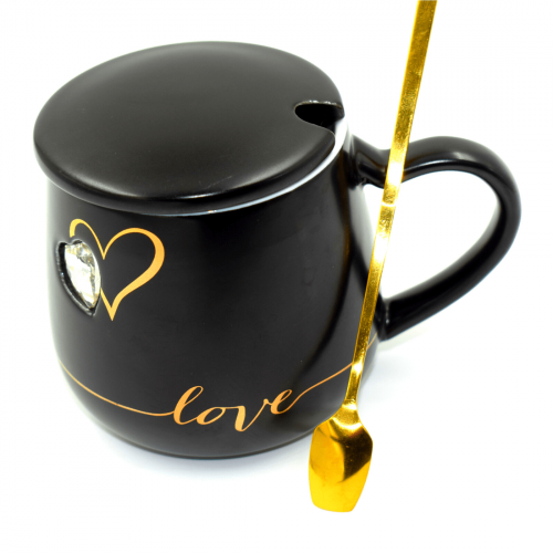 Coffee Cup With Spoon Black