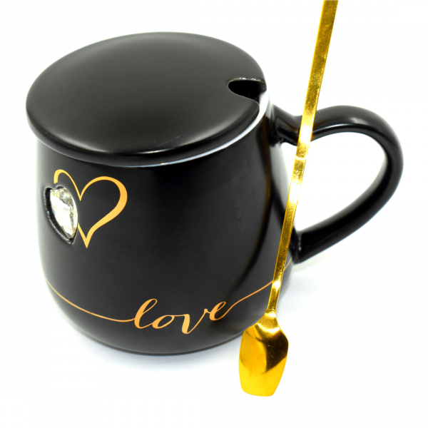 Coffee Cup With Spoon Black - Bulk Deal