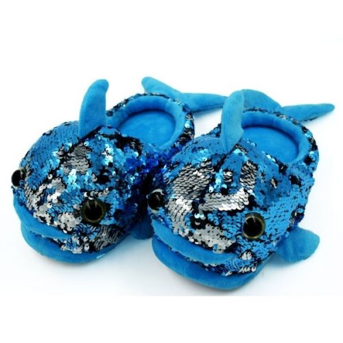 Fish Plush Slipper Blue