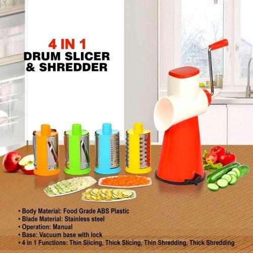 4 Piece Drum Shredder And Slicer